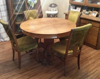 Antique Round Oak Claw Foot Dining Room Table and 4 Chairs, Set, Original Finish & Upholstery ***LOCAL PICKUP ONLY!***