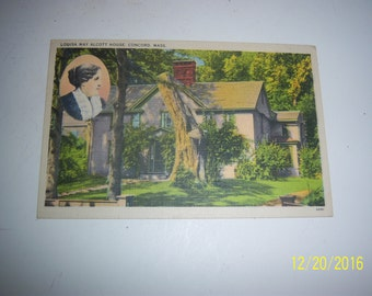 1940's Louisa May Alcott House Concord, Mass Woman Author Postcard