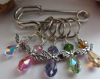 SNAG-FREE Swarovski Crystal Angel Stitch Markers