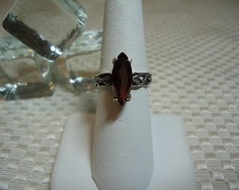 Marquise Cut Unheated Red Zircon Ring in Sterling Silver  #1878