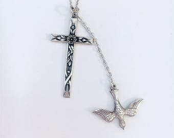 Vintage Art Deco Swift & Fisher floral Cross with Descending Dove pendant and chain Sterling silver
