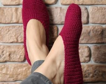 Warm crochet house slippers for women, cozy crochet slippers, woman house slippers, christmas gift, socks foot warmers - US 8/9 EU 39/40