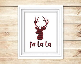 8 x 10 Cozy Red Buffalo Plaid on White Instant Download and Printable, Reindeer, Flannel, Christmas, Holiday Printable