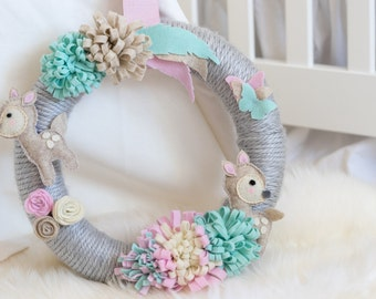 Pastel Dreamy Fawn Nursery Wreath