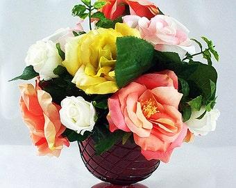 Small Vase Floral Arrangement, Small Rose Arrangements, Small Flower Table  Arrangements, Small Silk