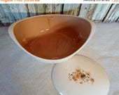 ON SALE Vintage Taylor Smith Taylor Ever Yours Wood Rose Pattern Covered Casserole Dish, Brown, Flowers,  Mid Century Modern, Cottage Chic