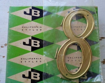 """ON SALE Vintage, Jaybee, House Number, 8, Eight, California Styled, 4"""", 4408-03-01 Solid Polished Brass Non-Rusting, New Old Stock, Made in"""