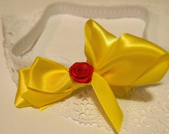 Yellow and Rose Bow Headband for Babies