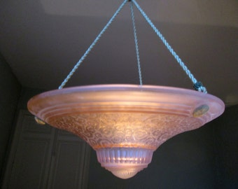 SIGNED MULLER FRERES French Art Deco Hanging Lamp - Ceiling Light -  Signed Muller Freres 1930s - Delicate Floral Twists Motifs