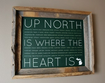 Up North Is Where The Heart Is Word Art Print (Dark Green) - Unframed