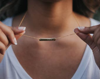 Love Handstamped Bar Necklace in Rose Gold and Gold