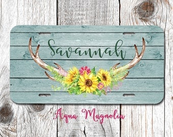 Sunflowers - Deer Antlers, Vintage, Boho, Weathered Wood - Personalized - License Plate - Monogrammed - Car Tag - License Plate Frame