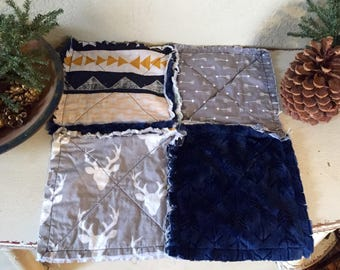 Ready to ship woodland rag quilted lovie