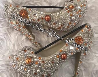 Vintage Chic Inspired Pumps Heels - Swarovski Crystal Heels - Pearls and Orange Rhinestone Heel Shoes - Pearl Bridal Shoes -  Wedding Heels