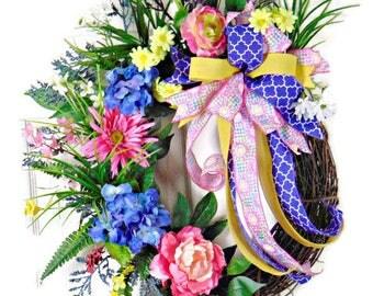 Summer Hydrangea Wreath, Pink Wreath, Summer Wreaths, Grapevine Wreath, Grapevine Wreaths, Front Foot Wreath, Mantel Wreath, Door Wreaths