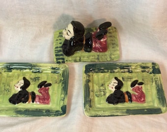 Vintage Asian Small Ashtray Set with Figure