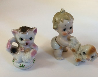 Vintage Popcorn Finish Kitten and Puupy WIth Baby Lot