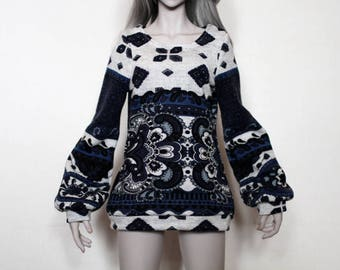 Oversized blue-patterned shirt for 1/3 BJD