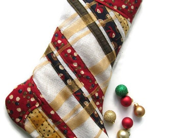 Quilted Christmas Plaid Holiday Stocking – Red Christmas Stocking – Blue Christmas Stocking – Hanging Stocking – Gold Christmas Stocking