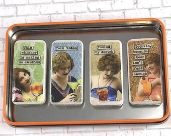 Drinking Ladies Magnet Set, Retro Ladies, Vintage Women, Domino Magnets, Magnet Set, Gift Set, Happy Hour, Alcohol, Scotch, Funny Magnets