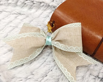 Burlap and mint bow charm