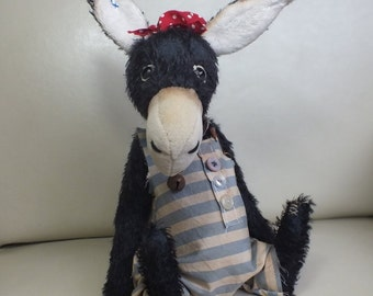 Mohair Donkey Black - Victorian Seaside - vintage style - handmade - collectable teddy - MADE TO ORDER
