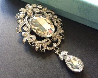 Victorian Swarovski rhinestone crystals brooch pin, chandelier brooch, rhinestones brooch, crystals brooch, wedding jewelry, bridal brooch
