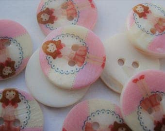 20mm Flat Round 2-Hole Freshwater Shell Buttons With Girl, Printing and Sewing Buttons Pack of 9 AS01