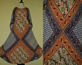 Vtg 70's OSFM KAISER India Gypsy Goddess Purple Orange earthy floral block print semi-sheer soft cotton gauze angel wing slv Maxi dress