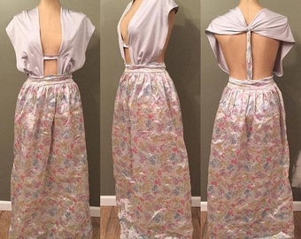 Maxi skirt floral pastel stretch
