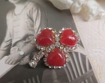 Vintage Shamrock Brooch - Sweetheart Brooch - Heart Brooch - Valentine's Day Gift - St Patrick's Day Gift - Irish - Cornelian - Rhinestone