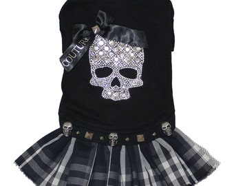 Punk Rock Black and Plaid Bling Skull Couture Shirt Dress