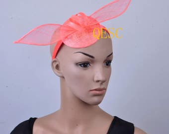 Coral pink Simple sinamay fascinator Kentucky derby/party/wedding/races/derby hat.