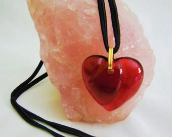 Vintage Bacarrat red Crystal Heart Necklace offers considered