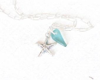 Teal Beach Glass Jewelry Silver Starfish Sea Glass Jewelry