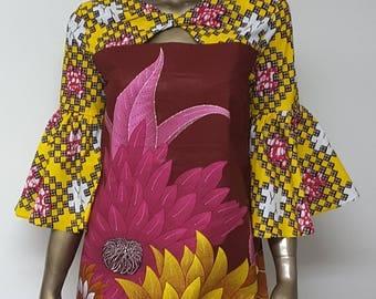 AYAWAX Collection. African Print Shift Dress. Keyhole neckline.  Bell Sleeves. Cheerful Yellow Burgundy Pink Print.  Handmade. Womens.