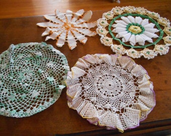 Lot of 4 colored crocheted doilies