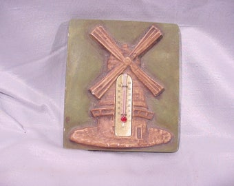 Antique Thermometer Wall Hanging Dutch Windmill -