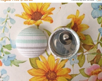 50% OFF SALE Striped Earring / Handmade Jewelry / Fabric Covered Button Earrings / Wholesale / Small Studs / Gifts for Her / Vintage Inspire