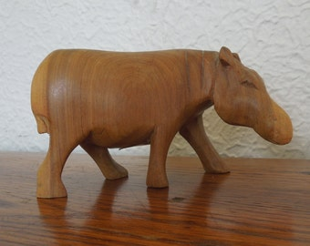 Vintage Hand Carved Wood Hippo- Made in Kenya