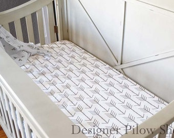 Arrow Crib Sheet - White and Tan (Ecru) - Gender Neutral Baby Bedding
