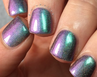 Twenty Two - Multi Chrome Chameleon - Linear Holographic - Green Teal Purple Nail Polish