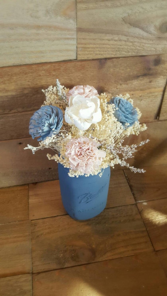Wedding centerpiece slate steel powder blue by