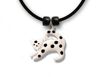 Enamel White Cat with Black Polka Dots Necklace
