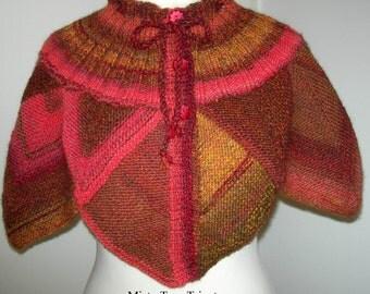 chauffe épaule PALERME, fait main, tricot modulaire, création Misty Tuss Tricote - modèle unique