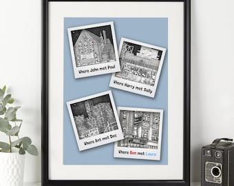 Personalised 'Where We Met' Illustration - Valentine's Gift - Personalised Artwork