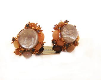 Ciner Earrings Ciner Jewelry Clip On Earrings Rare Stone Clip Earrings Ivory Pink Peach Topaz Gold Plated Designer Signed High End