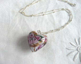 Vintage heart pendant, Venetian glass heart pendant, glass foil heart pendant with sterling silver chain, vintage pink glass pendant