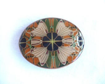 1970s butterfly buckle - 1970s enamel buckle - 1970s enamel butterfly buckle - retro butterfly buckle - lacquered enamel buckle