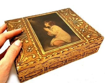 "Vintage Large Florentine Jewelry Box ""Praying Child "",Florentine Gilded Wooden trinket box,jewelry Gilded box"